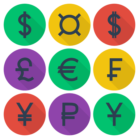 frank: Set of colored flat icons with different currency symbols on multicolor round backdrops