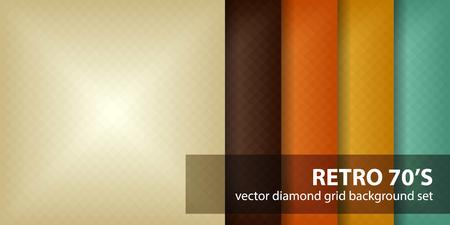 """Reticolo del diamante impostato """"Retro 70's"""". Vector sfondi geometrici senza soluzione di continuità con beige, marrone, arancio, giallo, verde quadrati diamanti Vettoriali"""