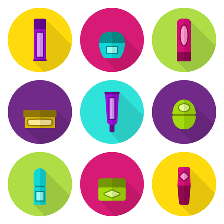 balsam: Lip balm tubes and jars vector flat icon set. Bright colors: violet, green, rose, yellow, cyan