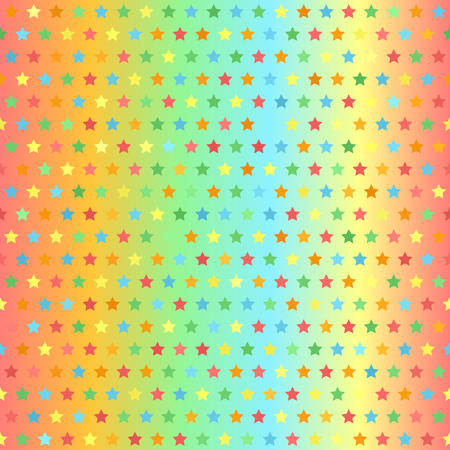 Star pattern. Seamless vector background: red, orange, yellow, green, blue stars on gradient backdrop