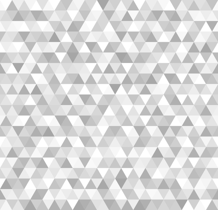 Silver triangle pattern. Seamless vector metallic background with gray and white triangles