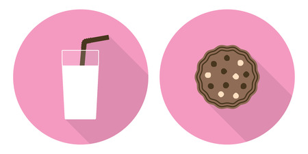 beige: Flat vector illustration set: glass of milk and cookie on pink backdrops