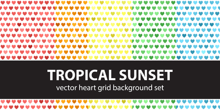 Heart pattern set Tropical Sunset. Vector seamless backgrounds: red, orange, yellow, green, blue hearts on white backdrops