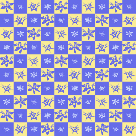 jonquil: Exotic checkered flower pattern. Seamless vector background with tropical flowers on yellow and violet checkered backdrop Illustration