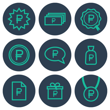 rouble: Set of icons about money with ruble symbols: teal line art icons on round blue backdrops Illustration