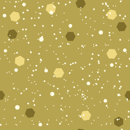 Snow pattern with hexagonal confetti. Seamless vector background with light and dark hexagons and white dots on ocher backdrop Çizim