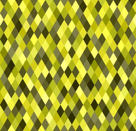 Diamond pattern. Vector seamless background with yellow, olive, yellow-green, khaki diamonds