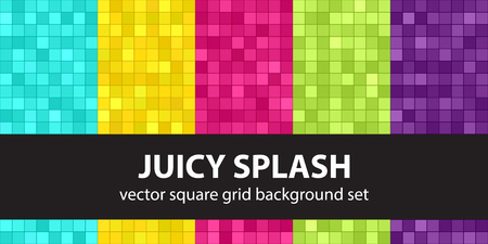 Square pattern set Juicy Splash. Vector seamless geometric backgrounds: cyan, yellow, rose, green, violet squares on dark colored backdrops Çizim