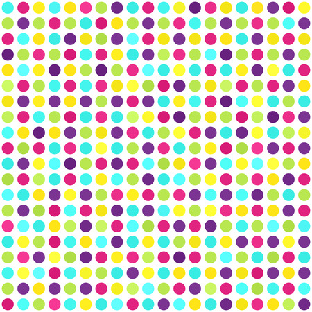 grid background: Polka dot pattern. Vector seamless background with cyan, yellow, rose, green, violet dots on white backdrop Illustration
