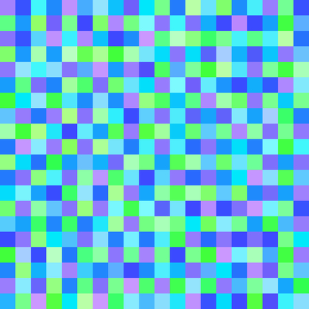 pixelart: Pixel pattern. Vector seamless pixel art background with green, cyan, blue, violet squares