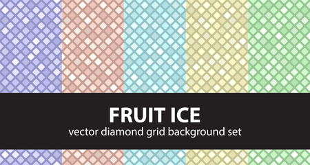 Diamond pattern set Fruit Ice. Vector seamless geometric backgrounds with violet, rose, cyan, yellow, green rounded diamonds on colored backdrops