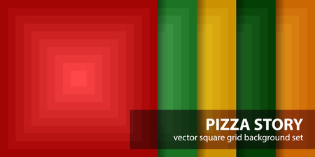 quadratic: Square pattern set Pizza Story. Vector seamless geometric backgrounds with red, light green, yellow, green, orange squares