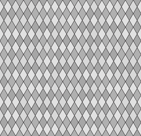 Diamond pattern. Seamless background with gray and light gray diamonds on black backdrop