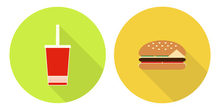 Flat vector illustration set: cup of cola on green backdrop and hamburger on yellow backdrop