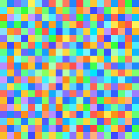 quadratic: Pixel pattern. Vector seamless pixel art background with red, orange, yellow, green, cyan, blue, violet squares