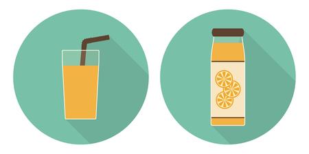 Flat vector illustration set: orange juice glass and orange juice bottle on green backdrops Illustration