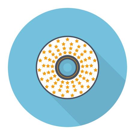 Flat CD, DVD disc vector illustration: white CD or DVD disc with orange stars on light blue backdrop