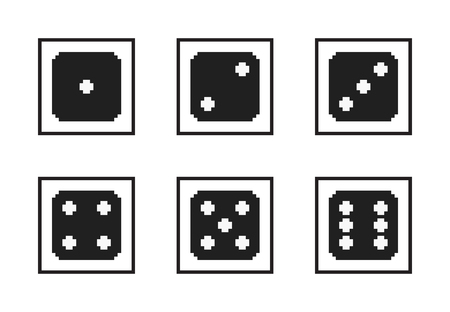 Monochrome pixel-art vector icon set: pixelated black dices with white dots, with numbers from one to six on the upper side, in black frames, size 30x30 px Illustration