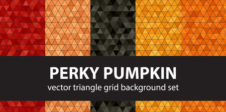 Triangle pattern set Perky Pumpkin. Vector seamless geometric backgrounds - red, peach, black, orange, pumpkin triangles on black backdrops