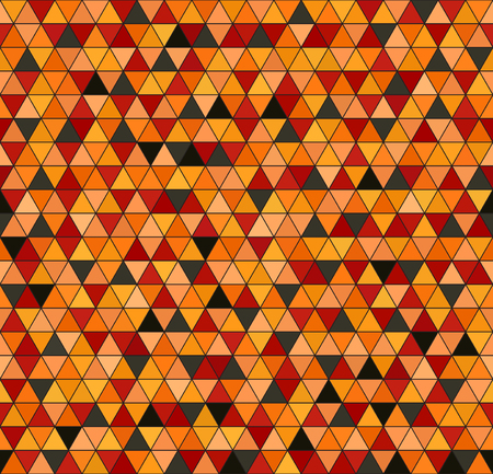 jonquil: Triangle pattern. Seamless vector background: red, peach, black, orange, pumpkin triangles on black backdrop