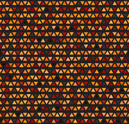 Triangle pattern. Seamless vector background: red, peach, black, orange, pumpkin triangles of different size on black backdrop. Illustration
