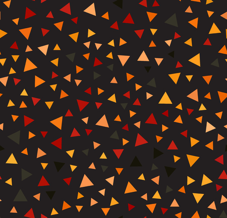 Triangle pattern. Seamless vector background: red, peach, black, orange, pumpkin triangles on black backdrop