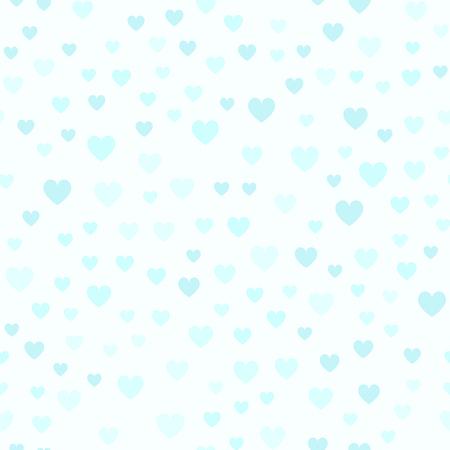 Cyan heart pattern. Seamless vector background: blue hearts on light cyan backdrop