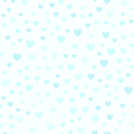Cyan heart pattern. Seamless vector background: blue hearts on light cyan backdrop