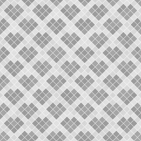 Gray diamond pattern with hearts. Seamless vector background: dark and light square diamonds on white backdrop