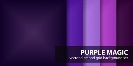 Diamond pattern set Purple Magic. Vector seamless geometric backgrounds