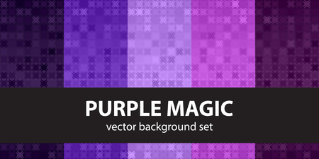 fandango: Abstract pattern set Purple Magic. Vector seamless backgrounds - amethyst, lavender, plum, purple, violet ornaments on gradient backdrops