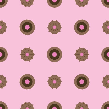 Sweets and cookies pattern. Seamless vector flat background - brown cookies on light pink backdrop Illustration