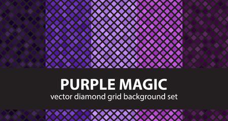 Diamond pattern set Purple Magic. Vector seamless geometric backgrounds - amethyst, lavender, plum, purple, violet rounded diamonds on black backdrops Stock Vector - 80319061