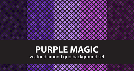 Diamond pattern set Purple Magic. Vector seamless geometric backgrounds - amethyst, lavender, plum, purple, violet rounded diamonds on black backdrops Illustration