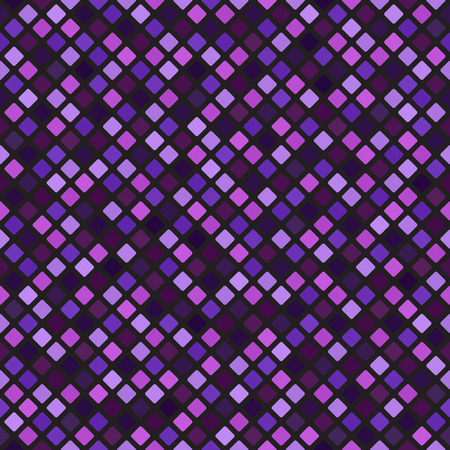 Diamond pattern. Seamless vector background - amethyst, lavender, plum, purple, violet rounded diamonds on black