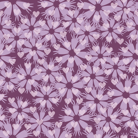 lowers: Flower pattern with hearts. Seamless vector background - light lilac lowers and hearts on purple backdrop Illustration