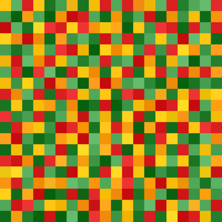mesh: Pixel pattern. Vector seamless pixel art background with red, light green, yellow, green, orange squares Illustration