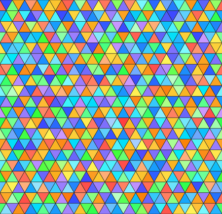 Triangle rainbow pattern. Seamless vector colorful background - red, orange, yellow, green, cyan, blue, violet triangles on black backdrop Çizim
