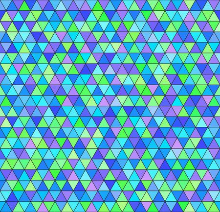 三角形のパターン。ベクターのシームレスな背景の緑、シアン、青、紫の三角形に黒背景