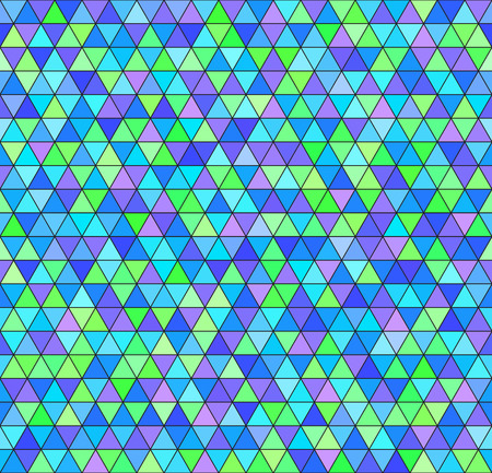 Triangle pattern. Vector seamless background - green, cyan, blue, violet triangles on black backdrop