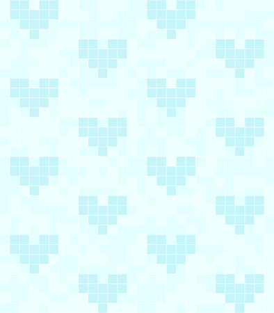 repeats: Cyan heart pattern. Seamless vector square background - blue hearts made of squares on light cyan backdrop