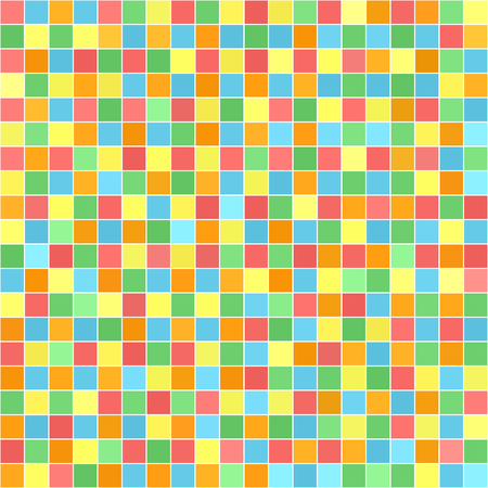 Square pattern. Vector seamless tile background - red, orange, yellow, green, blue squares on white backdrop