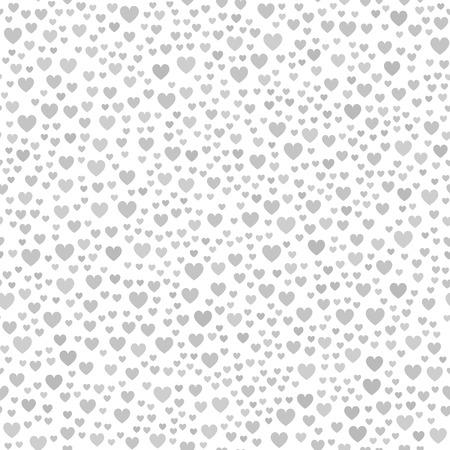 灰色の混沌とした心のパターン。白い背景の異なるサイズのシームレスなベクトル背景 - 灰色の心