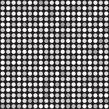 grid: Polka dot pattern. Vector seamless background - gray and white dots on black backdrop Illustration