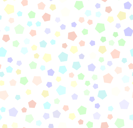 Pentagon pattern. Seamless vector background - violet, rose, cyan, yellow, green pentagons on white backdrop