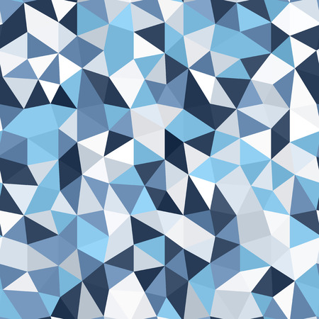 Triangle polygonal mosaic pattern. Seamless vector background with blue, gray and white triangles Çizim