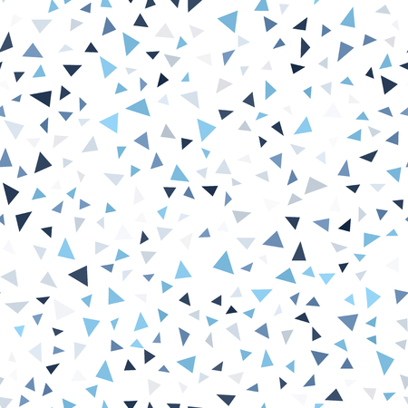 Mosaic triangle pattern. Seamless vector geometric background - blue, gray and white triangles on white backdrop