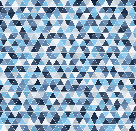 Triangle pattern. Seamless vector background - blue, gray and white triangles on white backdrop