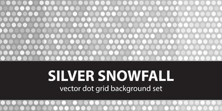 arsenic: Polka dot pattern set Silver Snowfall. Vector seamless geometric dot backgrounds - gray and white circles on dark backdrops