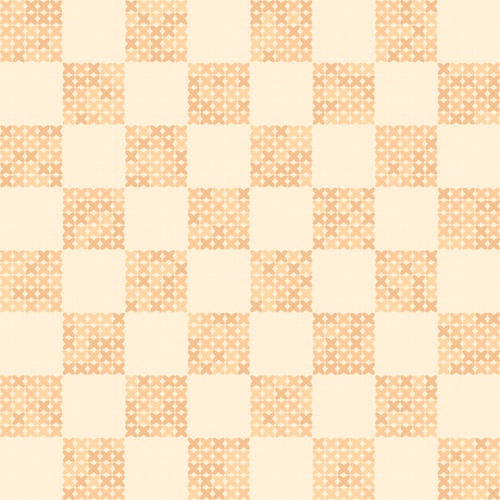 Abstract cross-stitched vector seamless background in peach and beige tones Illustration